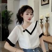 短袖襯衫 夏季新品韓版法式雪紡白色襯衫女設計感小眾襯衣洋氣短袖上衣