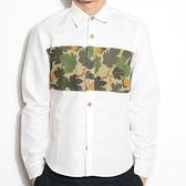 迷彩襯衫-修身白色襯衫純棉質歐洲休閒男長袖上衣71av29[時尚巴黎]
