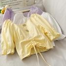 喇叭袖上衣 小眾收腰顯瘦繫帶短款T恤衫上衣女夏季喇叭袖圓領露鎖骨襯衫-Ballet朵朵