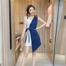 襯衫洋裝 設計感夏氣質女神風性感修身不規則拼接襯衫吊帶連身裙女-Ballet朵朵