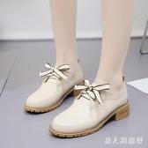 復古牛津小皮鞋綁帶休閒女鞋英倫風2019新款軟皮方頭鞋子中跟單鞋 DR27977【男人與流行】