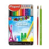 學用水彩色鉛筆鐵盒/12色【法國Maped】