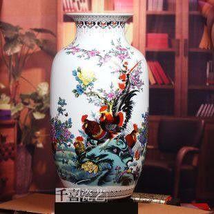 景德鎮陶瓷器粉彩花瓶瓷喜事臨門冬瓜瓶