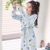日系和服睡衣女士純棉長袖加大碼睡裙女甜美可愛全棉家居服
