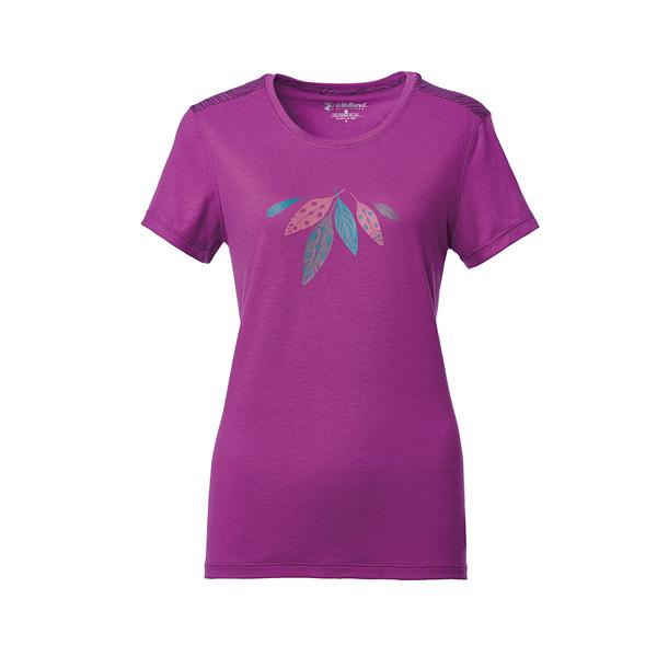 [Wildland] 荒野 (女) 彈性棉感抗UV印花上衣 淺紫 (0A61623-57)