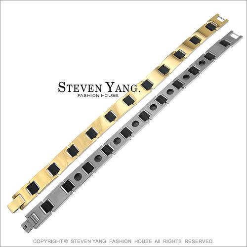 手鍊STEVEN YANG鈦鋼飾「金色年代」99%純鈦手鍊 健康鈦鍺