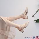 熱賣中跟涼鞋 2021年新款春夏季女鞋中跟粗跟高跟尖頭仙女風女士涼鞋半包頭單鞋 coco