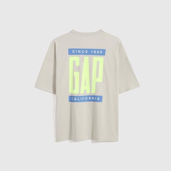 Gap男裝 厚磅密織系列Logo寬鬆版型短袖T恤 697713-灰白色