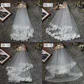 新娘頭紗旅拍簡約頭紗短款韓式森繫頭飾 全館免運