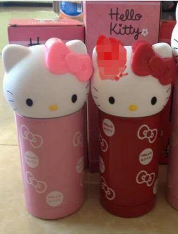 Hello Kitty保溫杯  KT貓可愛卡通杯 貓頭不銹鋼保溫杯【潮咖範兒】