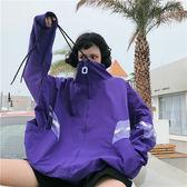 NANA港味簡約BF風格運動休閒女裝春季蝙蝠袖拼接寬鬆薄款立領外套優樂居生活館