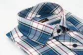 【金‧安德森】藍白經典格紋窄版長袖襯衫