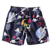 速干寬鬆沙灘褲男可下水四分褲平角大碼泳褲套裝度假溫泉海邊短褲【創世紀生活館】