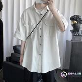 襯衫 夏季復古工裝男短袖韓版潮流休閑外套寬鬆純色帥氣半袖薄襯衣 【八折搶購】