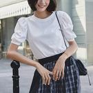 純棉短袖T恤 法式泡泡袖T恤 純色圓領上衣-夢想家-0714