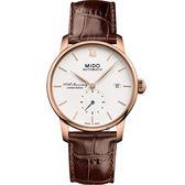 限量 MIDO美度 Baroncelli 1918 百年紀念機械錶-玫瑰金框x咖啡/38mm M86083268