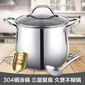 湯鍋304 不銹鋼加厚家用大容量熬煮粥煲湯鍋具燉鍋燃氣電磁爐 童趣潮品