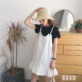 新款學生韓版小清新可愛吊帶牛仔背帶裙荷葉邊連身裙女夏 XN2413【優品良鋪】