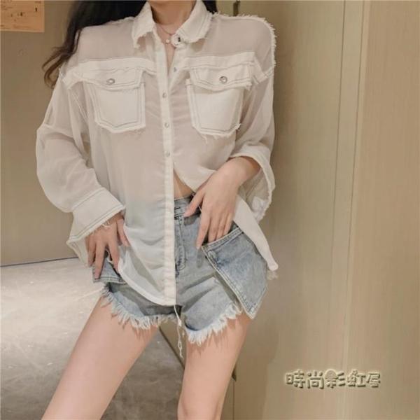夏裝小眾設計洋氣透氣單穿襯衫薄款牛仔拼接網紗防曬衣女2019新款