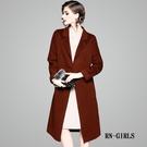 (現貨+預購 RN-girls)-精品休閒感100%羊毛綁帶長大衣外套