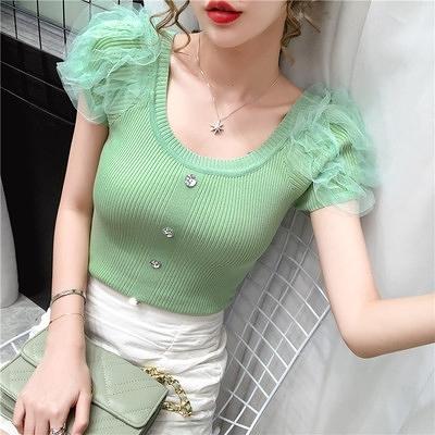 冰絲上衣修身顯瘦性感網紗拼接泡泡袖薄款針織短袖t恤小衫夏季NC423紅粉佳人