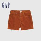 Gap女裝 簡約純色燈芯絨自然腰休閒短褲 573716-銅色