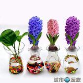 花瓶 風信子玻璃花瓶水培植物花瓶創意花邊花瓶客廳辦公桌花瓶 城市玩家