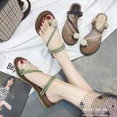 夏季夾腳拖鞋女韓版時尚外穿鑲鑽一字帶水鑽夾趾兩穿涼拖 可可鞋櫃