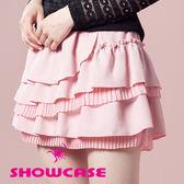 【SHOWCASE】荷葉蛋糕百褶層次短裙(粉)