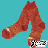 【PolarStar】羊毛保暖雪襪『桔紅』P17610 露營.戶外.登山.保暖襪.彈性襪.紳士襪.休閒襪