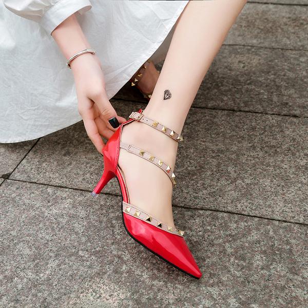 高跟鞋正韓鉚釘涼鞋女鞋包頭一字扣細跟尖頭鏤空高跟鞋中跟【特價】
