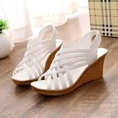 2021韓版夏季新款坡跟魚嘴鞋羅馬涼鞋松糕厚底女休閑鞋高跟鞋女鞋