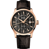 MIDO美度 Multifort 先鋒系列雙時區機械錶-玫瑰金框x咖啡/42mm M0384293606100