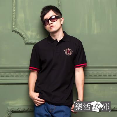 【582-617】MIT美式刺繡液鈦涼感紗短POLO衫(黑色)● 樂活衣庫