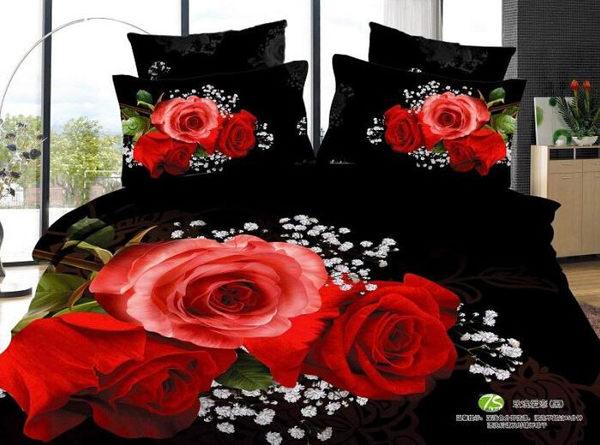 純棉 床包四件組 黑牡丹玫瑰【藍星居家】