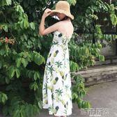 洋裝 春季女裝新款韓版復古顯瘦菠蘿印花連身裙時尚交叉露背吊帶長裙子 下標免運