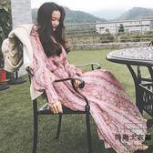 超仙連身裙女韓版收腰顯瘦長款氣質度假長裙女【時尚大衣櫥】