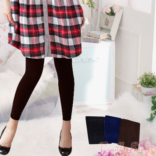 220丹厚款天鵝絨保暖褲襪(9分款) 百搭性感 纖腿美型 - 香草甜心