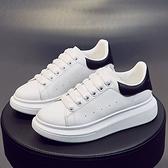 X-INGCHI 女款白黑色厚底增高休閒鞋-NO.X0384