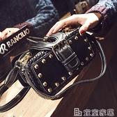 柳釘包 小包包女2021新款潮韓版個性手提包鉚釘小方包港風復古側背斜背包 嬡孕哺