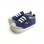 小童 簡約牛仔 鬆緊鞋帶 帆布鞋《7+1童鞋》D547 藍色
