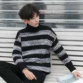 冬季港風chic上衣韓版套頭條紋毛衣男冬裝男士加厚保暖高領針織衫 童趣