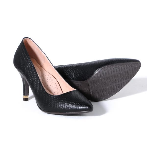 GREEN PINE 經典美型時尚尖頭細高跟鞋-黑色