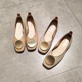 春夏平底方頭單鞋女淺口軟底平跟豆豆鞋圓扣復古軟皮舒適奶奶鞋
