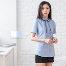 修身制服/小荷葉立領綁帶短袖襯衫【Seb...