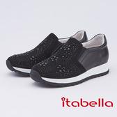 itabella.花朵水鑽內增高休閒鞋(9557-90黑色)