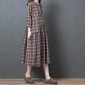 棉麻 日系灰咖格紋洋裝-中大尺碼 獨具衣格