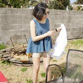 無袖棉麻上衣  夏季新款韓版寬鬆顯瘦高腰娃娃衫女減齡百搭無袖背心棉麻上衣 全館單件9折