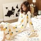 韓版可愛睡衣女春秋冬純棉長袖睡裙夏季薄款甜美清新少女士家居服 小艾新品