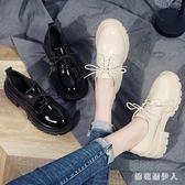牛津鞋2019春粗跟英倫風單鞋系帶漆皮亮皮圓頭小皮鞋 QX675 【棉花糖伊人】